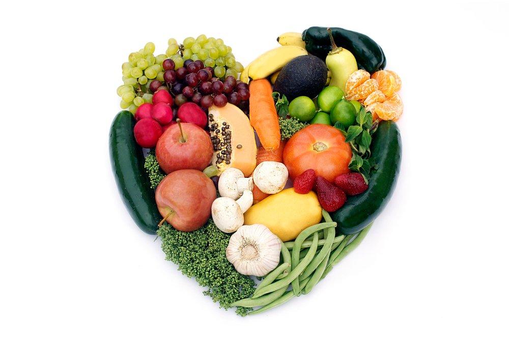 fruit and veg in heart shape
