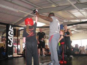 Tess winning a kick-boxing bout
