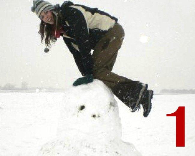 holly on a snowman