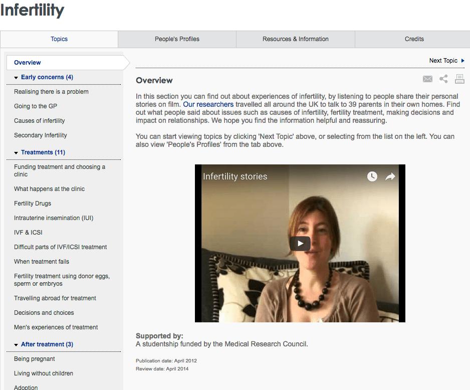 Infertility healthtalk