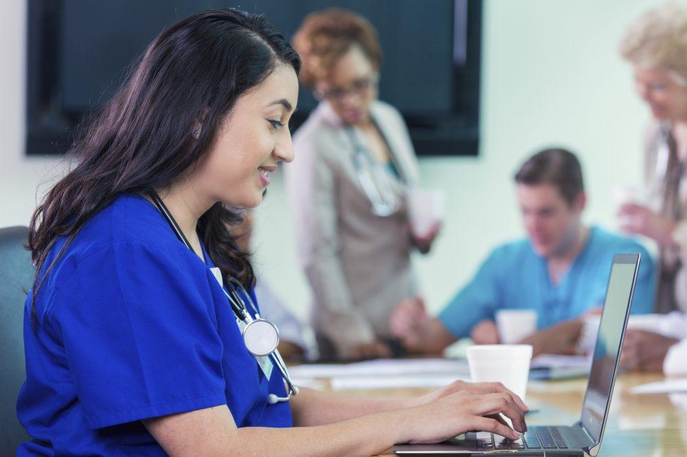nurse using computer