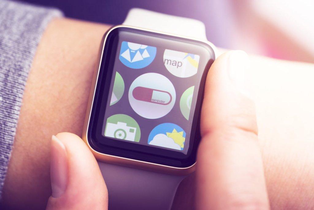 Pill reminder application on smart watch touchscreen
