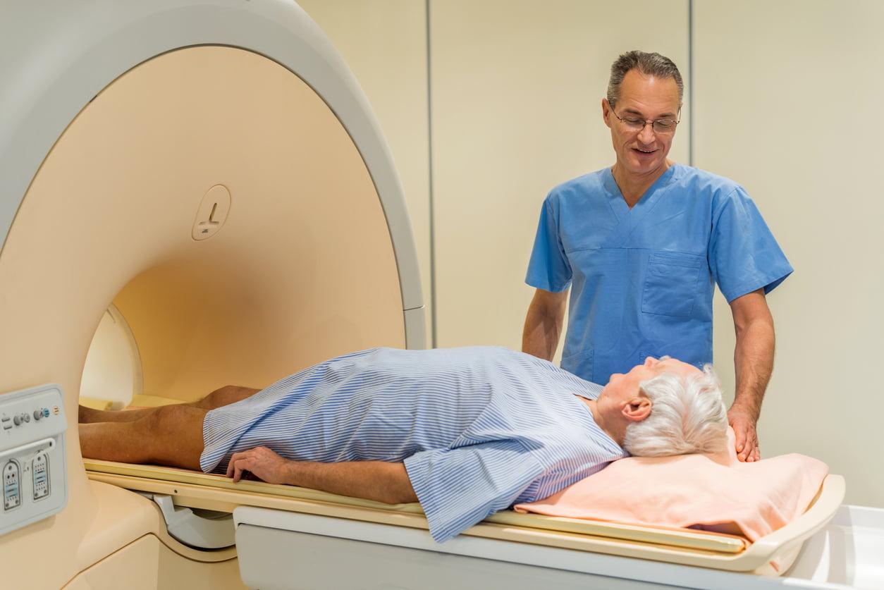 Man entering an MRI scanner